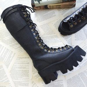 JEFFREY CAMPBELL Cadenet Perforated Lug Sole Boots